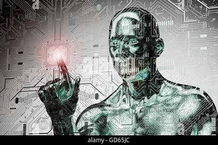 humanoid robot clicking network computer , 3d illustration - Stock Photo