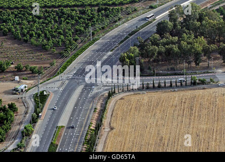 Aerial view of the entrance intersection to Kabul, Israel - Stock Photo