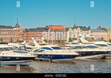 Motor Boats In The North Harbour Helsinki Finland - Stock Photo