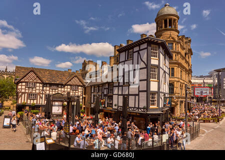 The Old Wellington Inn and Sinclairs Oyster Bar, popularly known as 'The Shambles' in Exchange Square Manchester, - Stock Photo