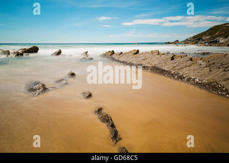 Dollar Cove beach at Gunwalloe used for the shipwreck scene in the Poldark series - Stock Photo