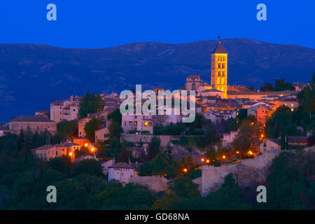 San Esteban Church at Dusk, Segovia, Castilla-Leon, Spain, - Stock Photo