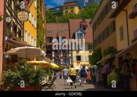 Meersburg, Old town, Castle, Lake Constance, Bodensee, Baden-Wuerttemberg, Germany, Europe - Stock Photo
