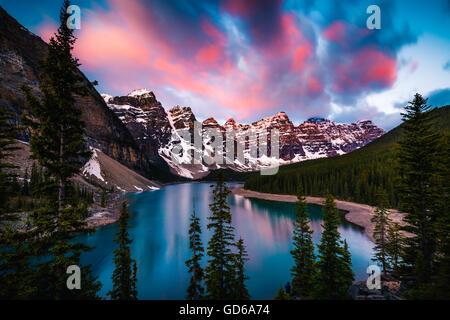 Dramatic Sunrise at Moraine Lake in Banff, Alberta, Canada - Stock Photo