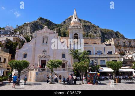 Church of San Giuseppe in Piazza IX Aprile - Taormina, Sicily, Italy - Stock Photo