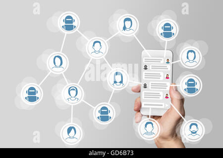 Chatbot concept with instant messenger displayed on smart phone - Stock Photo