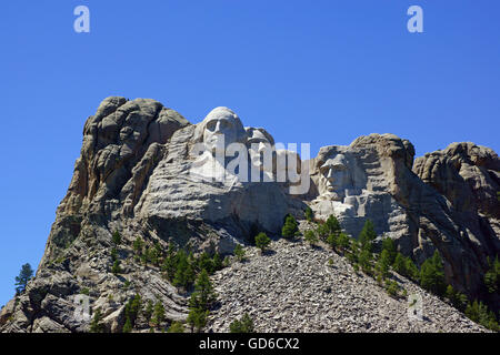 Mount Rushmore National Monument sculpt in the Black Hills of South Dakota - Stock Photo