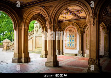 Bethesda Terrace and Fountain overlook The Lake in New York City's Central Park - Stock Photo