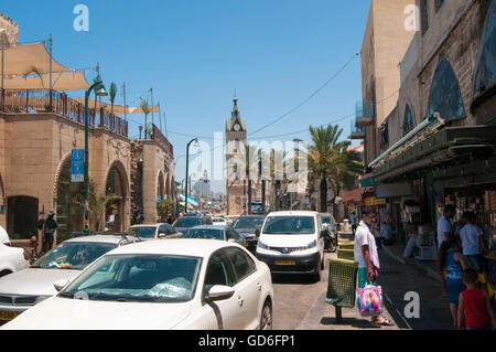 Israel, Jaffa. Yefet Street. The clock tower in the background - Stock Photo