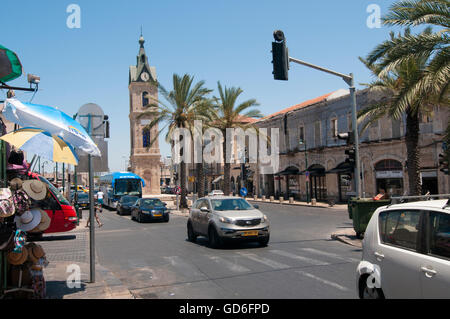 Israel, Jaffa, The Old clock tower in Jaffa, Clock Square, as seen from Yefet Street. Built in 1906 in honor of - Stock Photo