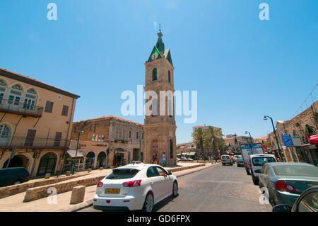 Israel, Jaffa, The Old clock tower in Jaffa, Clock Square, built in 1906 in honor of Sultan Abed al-Hamid II's 25th - Stock Photo