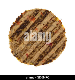 Top view of a veggie burger patty isolated on a white background. - Stock Photo