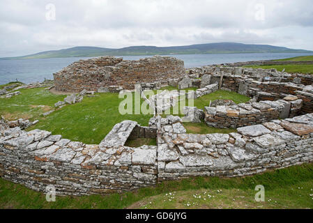 The 200year BC  Broch of Gurness early Iron Age dwellings at Evie on the North coast of Orkney Mainland.  SCO 10,568. - Stock Photo