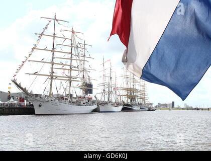 Tallships Dar Młodzieży, Statsraad Lehmkuhl & Kruzenshtern at Delfsail Sailing Event, July 2016. Dutch Flag flying - Stock Photo