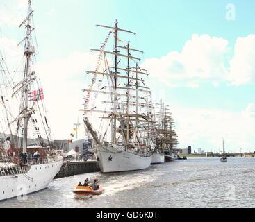 Tall ships  Dar Młodzieży, Statsraad Lehmkuhl &  Kruzenshtern moored at Delfsail Sailing Event, July 2016, Netherlands - Stock Photo