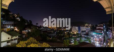 Panorama shot from a hill to the South of Bogambara Lake, Kandy, Sri Lanka. - Stock Photo