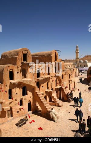 Tunisia, Ksar Ouled Soltane, former fortress and its 400 Ghorfas - Stock Photo