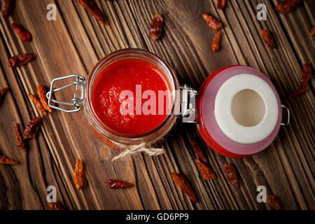 Natural diy chilli sauce sriracha - Stock Photo