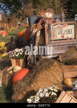 An old wagon holds pumpkins and gourds, wooden baskets, flowers and hay bales in a sunny autumn scene. - Stock Photo