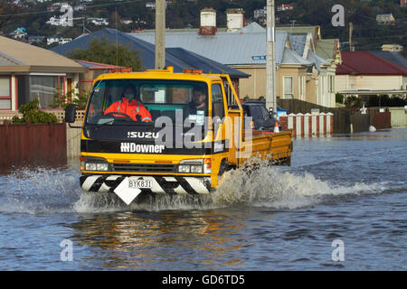 Truck on flooded Bay View Road, South Dunedin floods, Dunedin, South Island, New Zealand - Stock Photo