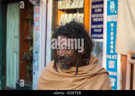 ndian sadhu on the street in Rishikesh. - Stock Photo