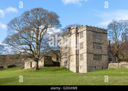 A Grade II listed 16th Century Tower House. North Lees Hall, near Hathersage, Derbyshire, Peak District, England, - Stock Photo