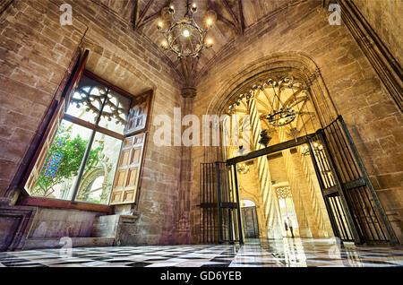 Interior of the Llotja de la Seda, Silk Exchange building in late Gothic style. UNESCO World Heritage site. Valencia. - Stock Photo