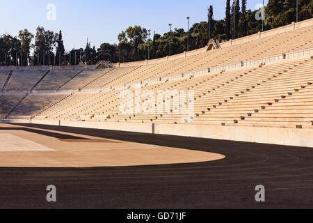 Athens, Greece - Marble Panathenaic Stadium in the capital city of Athens in Greece; it was the venue of the first - Stock Photo