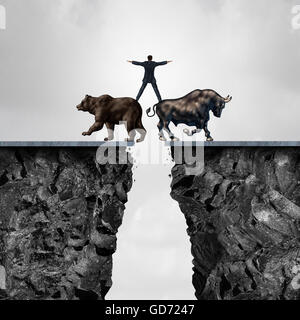 Concept of investment risk as a businessman balancing on top of a bear and bull as a financial metaphor for the - Stock Photo