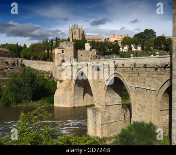 Toledo Spain Puente de San Martin bridge over the Tagus river - Stock Photo