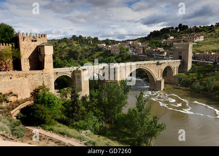 Toledo Spain Puente de San Martin bridge over the Tagus river, Rio Tajo, - Stock Photo