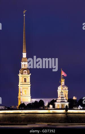 Admiralty spire in St Petersburg. Russia - Stock Photo