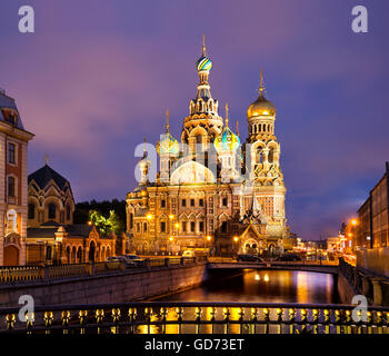 Cathedral of Savior on Spilled Blood in St Petersburg, Russia. - Stock Photo