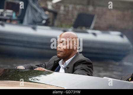 AMSTERDAM, THE NETHERLANDS ,JULY 10 2016;closeup photo of the Famous american actor Samuel L Jackson in a l speedboat while shoo
