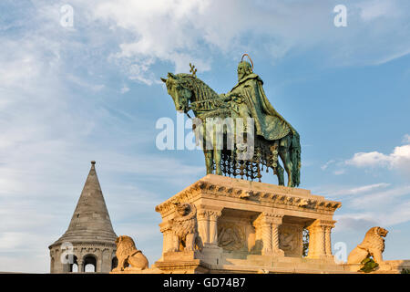 Statue of Saint Stephen I - the first king of Hungary in front of Fisherman's Bastion at Buda Castle in Budapest, - Stock Photo