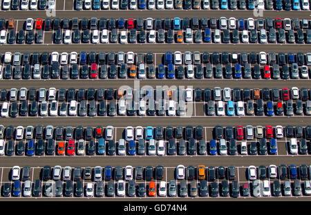 Aerial view, new car parking, Wallenius Wilhelmsen Logistics Germany GmbH, Citroen, Peugeot, Ford cars, car logistics - Stock Photo