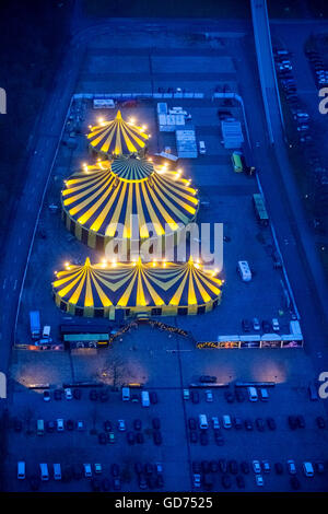Aerial view, Circus Tent, Christmas Circus in the area, show 'Beautiful Fire days!', Parking  Westfalenhalle , Flic - Stock Photo