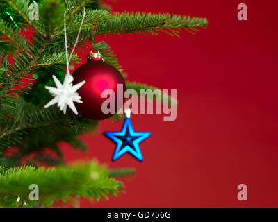 Decorated Christmas tree, detail - Stock Photo