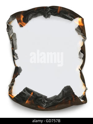 Sheet of blank paper with burning edges making a frame - Stock Photo
