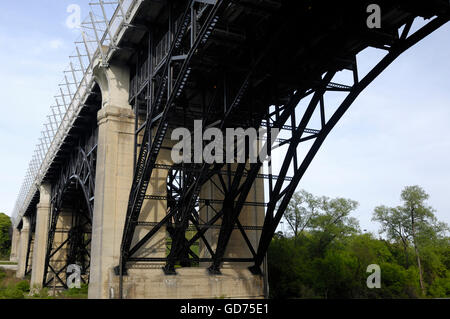 The Prince Edward Viaduct in Toronto also called Bloor Street Viaduct or The Bloor Viaduct Double-decked arch bridge - Stock Photo