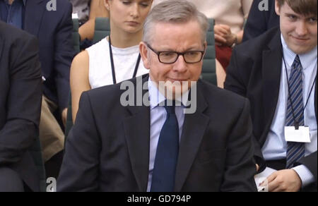 Justice Secretary Michael Gove gives evidence to the Commons Justice Committee in Westminster, London, on the radicalisation - Stock Photo
