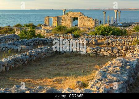 Ancient Greek basilica and marble columns in Chersonesus Taurica. Sevastopol, Crimea. Russia - Stock Photo