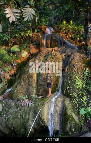 a waterfall in the town of Loihuno in the south of East Timor in southeastasia. - Stock Photo