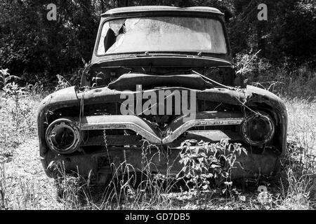 Crawfordville, Florida - USA. May 2016 - Old rusted pickup ruck abandoned in the forest of Wakulla - Stock Photo