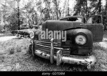 Crawfordville, Florida - USA. May 2016 - Old rusted trucks abandoned on the side of the road. - Stock Photo