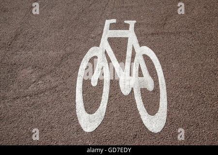 Bike Lane Symbol In Amsterdam Holland Netherlands Stock Photo