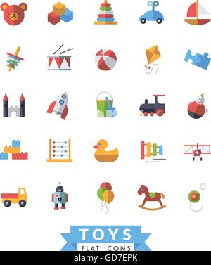 Collection of flat design children's toys icons - Stock Photo