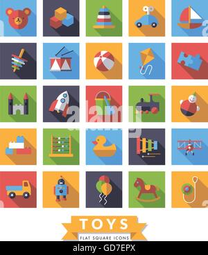 Collection of square flat design long shadow children's toys icons - Stock Photo