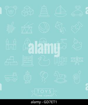 Set of 25 children's toys icons, thin line design, white on turquoise background - Stock Photo