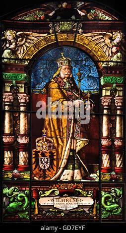 Glasfenster aus dem Wappensaal des Kieler Schlosses mit der Darstellung Kaiser Wilhelms I Glass windows from the - Stock Photo